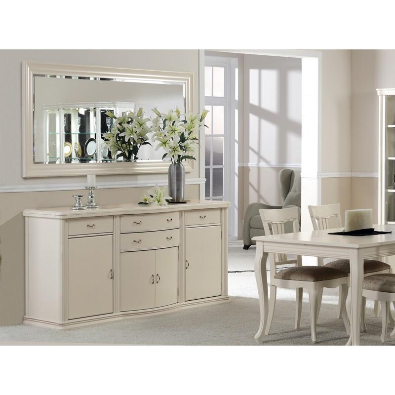 Aparador retro con espejo color lino muambi for Aparadores con espejo