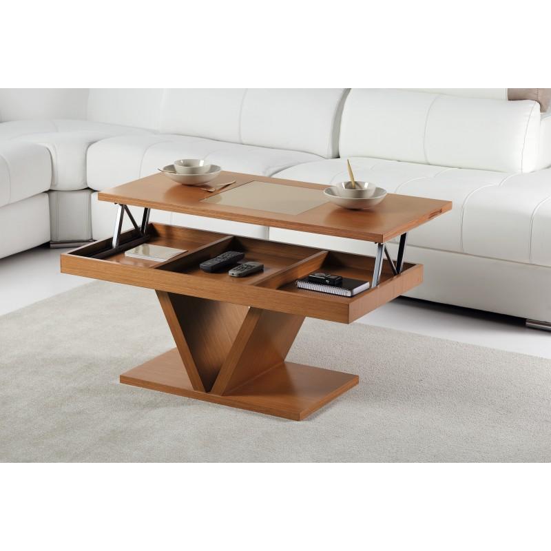 Mesa de centro elevable moderna color nogal americano - Mesas modernas de centro ...