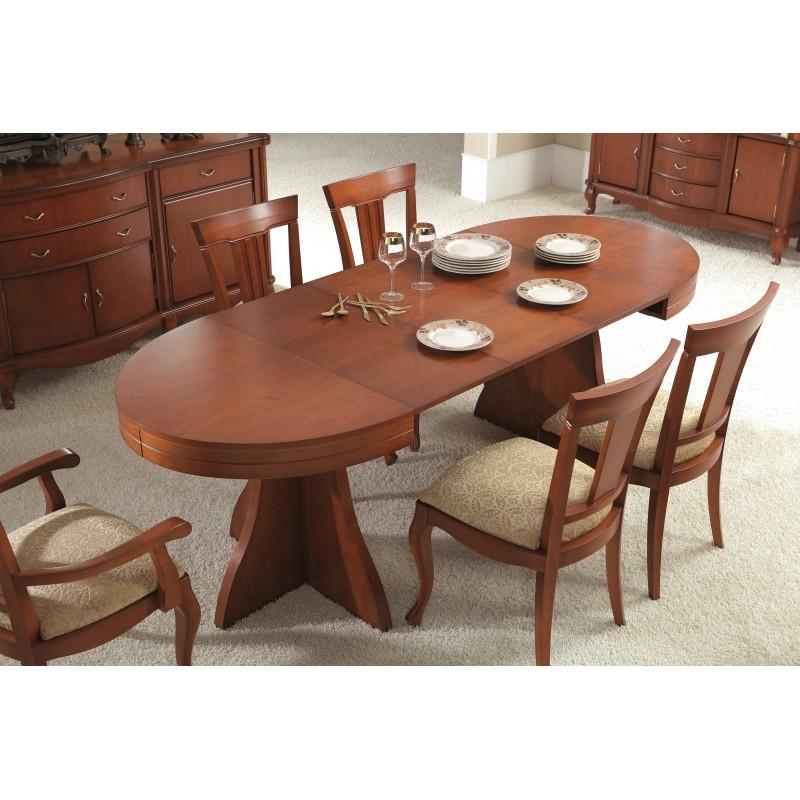 mesa de comedor extensible moderna color cerezo