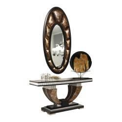 Recibidor exótico en piel con marco espejo, tapizado: Cerbero