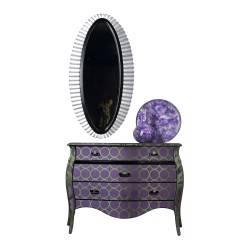 Cómoda exclusiva con marco espejo y 3 cajones, tapizado: Kavana