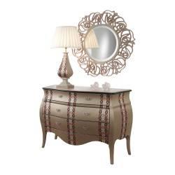 Cómoda exclusiva con marco espejo y 3 cajones, tapizado: Mosaic