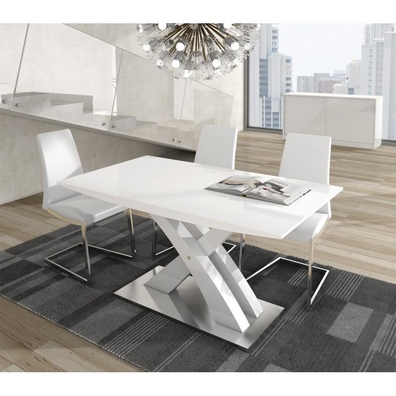 Mesa de comedor extensible moderna color blanco muambi for Mesa extensible moderna
