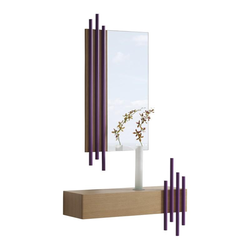 Recibidor moderno espejo caj n color roble magenta - Espejo nordico ...