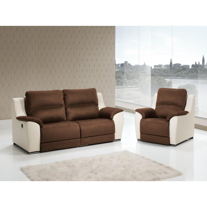 Sof 2 plazas moderno color marron crema muambi - Medidas sofa 3 plazas ...