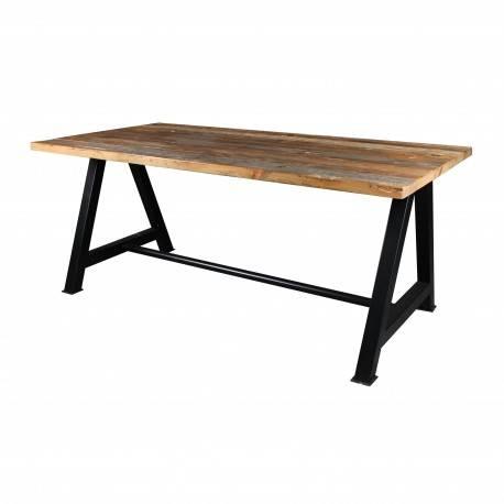 Mesa de comedor industrial, acabado: madera vieja