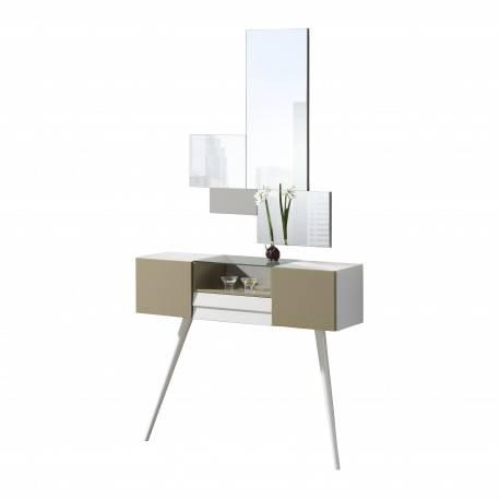 Recibidor moderno con marco espejo, color: duna - blanco