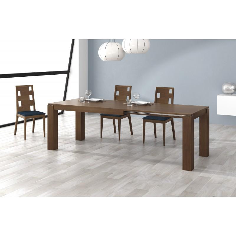 Mesa de comedor extensible moderna color nogal muambi - Mesas modernas comedor ...