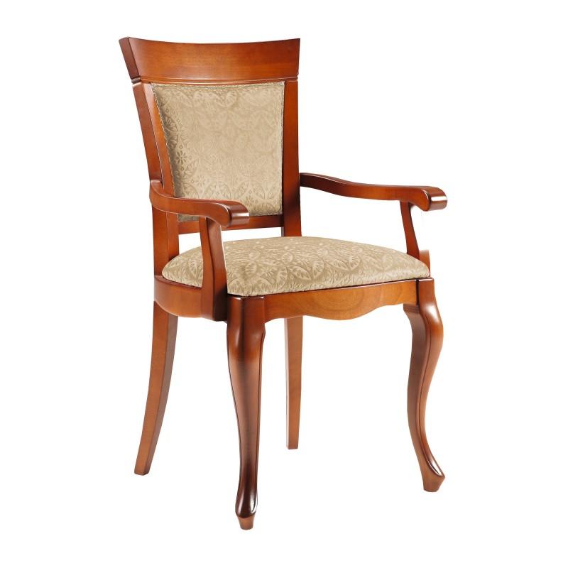 silla de comedor cl sica con reposabrazos color cerezo