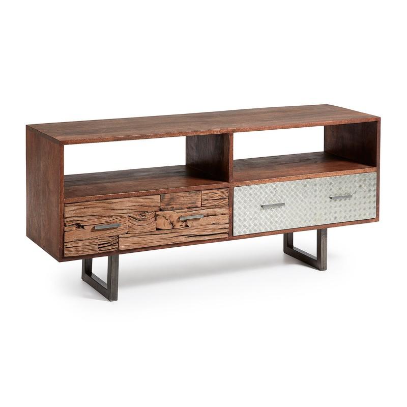 mueble tv retro con cajones madera y metal