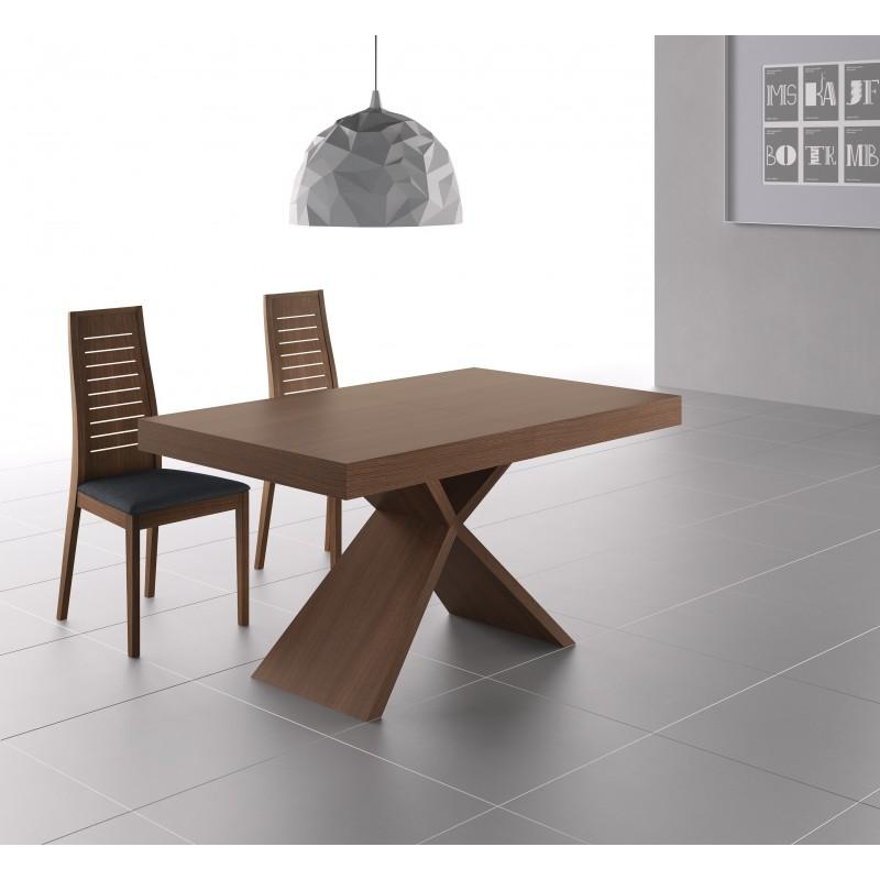 Mesa de comedor extensible moderna color nogal muambi - Mesa comedor extensible moderna ...