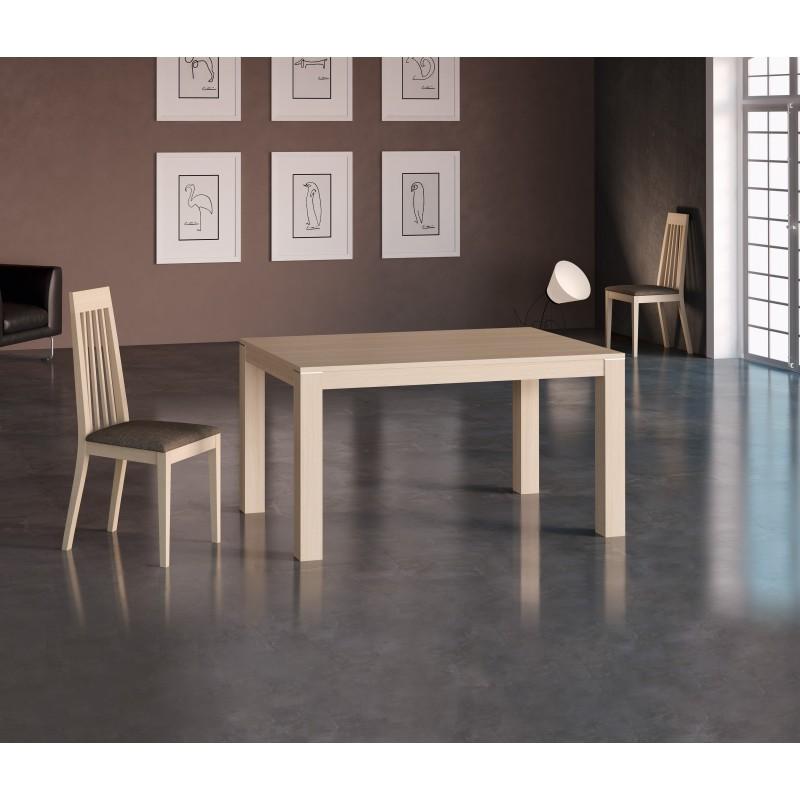 Mesa de comedor extensible moderna color roble claro for Mesa extensible moderna