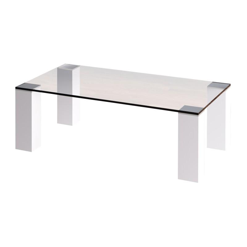 Mesa de centro moderna con cristal color blanco muambi - Mesa cristal blanco ...