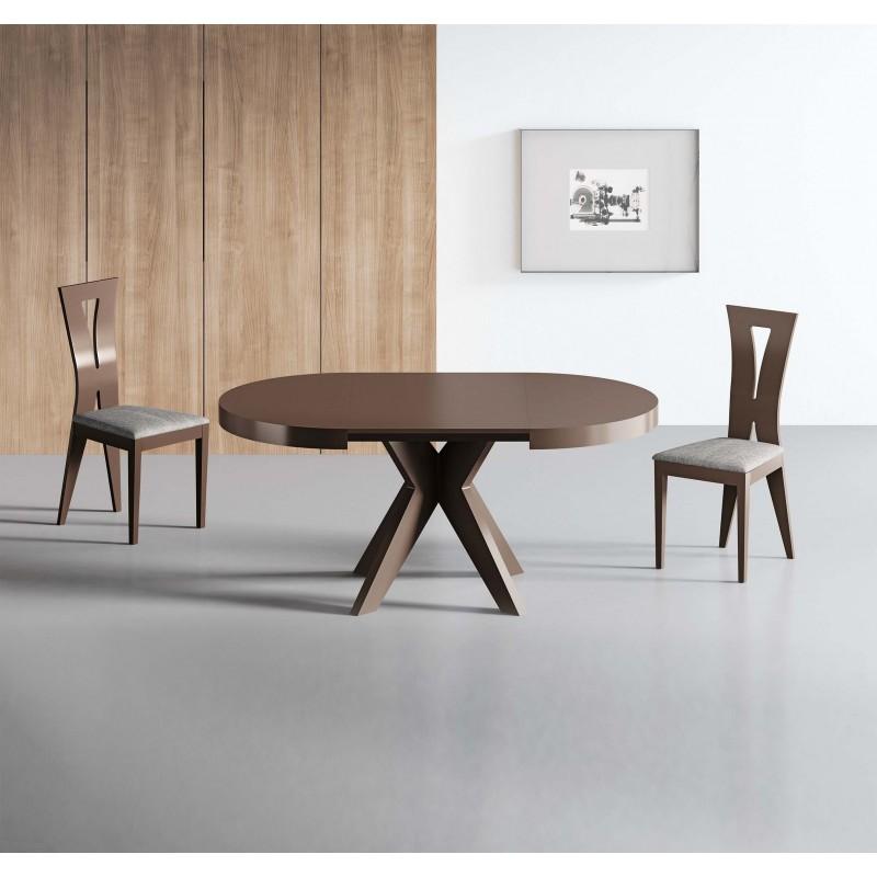 Mesa de comedor moderna con tapa de cristal color nogal - Mesas comedor modernas extensibles ...