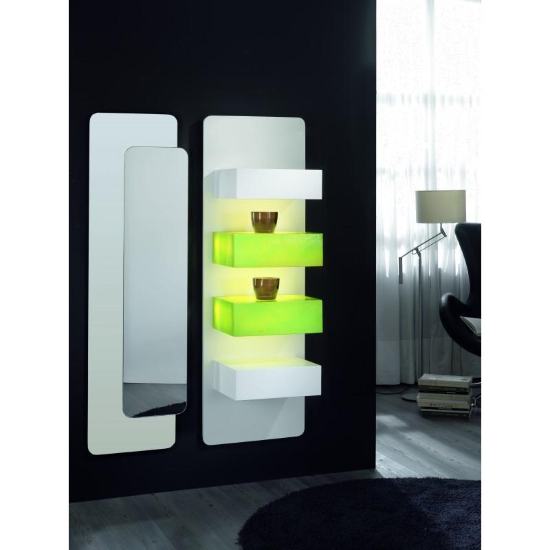 Recibidor moderno 2 m dulos luz y espejo blanco verde - Recibidor moderno blanco ...