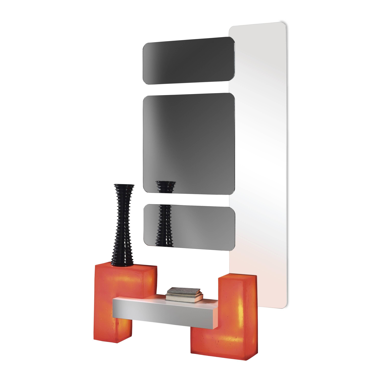 recibidor moderno con espejos color blanco rojo