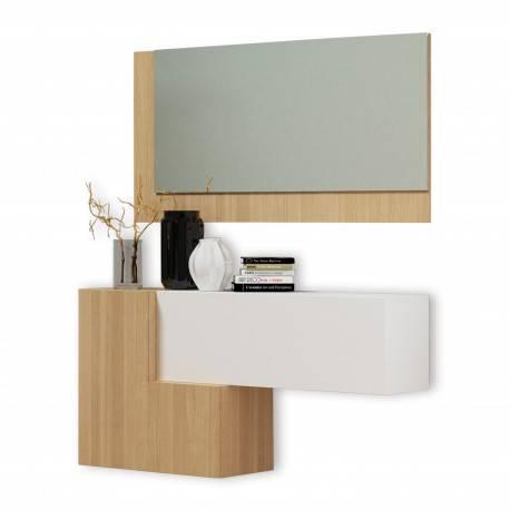 Recibidor moderno con espejo, color: blanco - roble claro