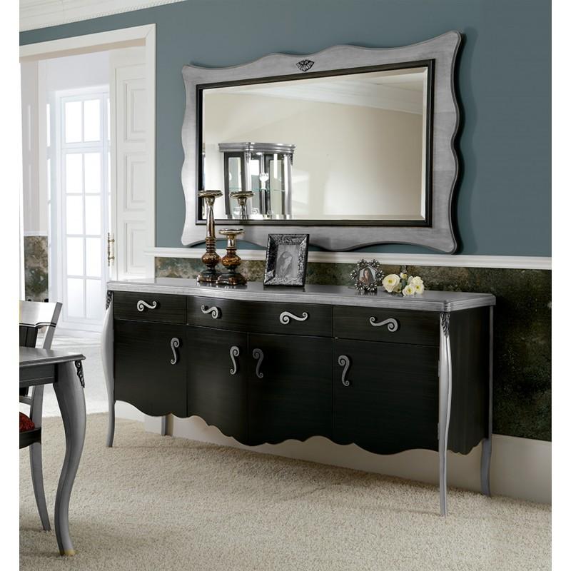 Aparador retro con marco espejo color negro oro muambi for Espejos para aparadores