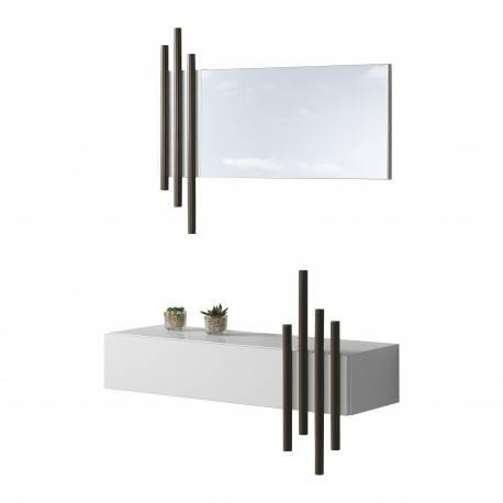 Recibidor moderno con marco espejo, color: blanco - tierra