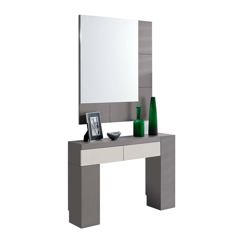 recibidor moderno con marco espejo led color plomobeige