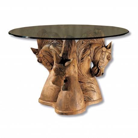 Mesa de comedor exótica con cristal, acabado: teñido y encerado