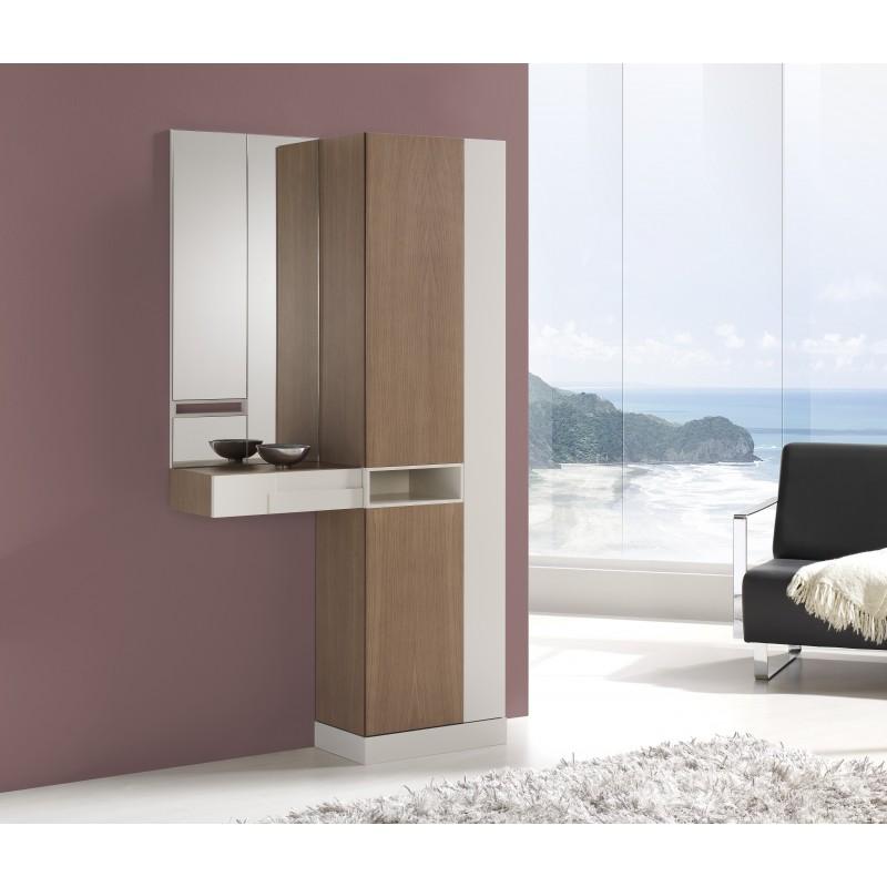recibidor y armario tradicional con espejos color roble omn beige