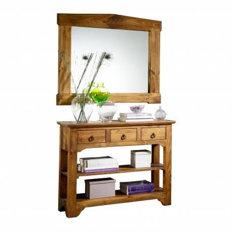 Recibidor rústico con marco espejo, acabado: teñido y encerado