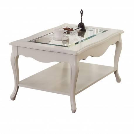Mesa de centro retro con cristal, color: lino
