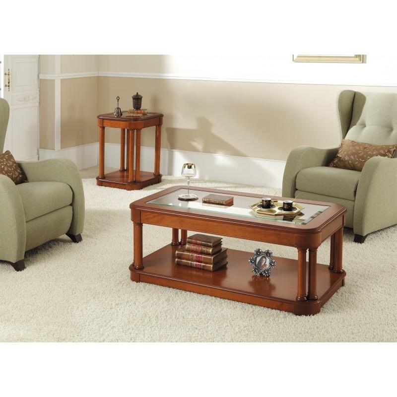 Mesa de centro cl sica con tapa de cristal color cerezo for Mesas con tapa de cristal