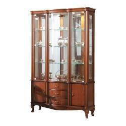 Vitrina clasica con leds, 5 puertas y 3 cajónes, color: cerezo