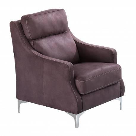 Sillón contemporáneo tapizado, color: marrón