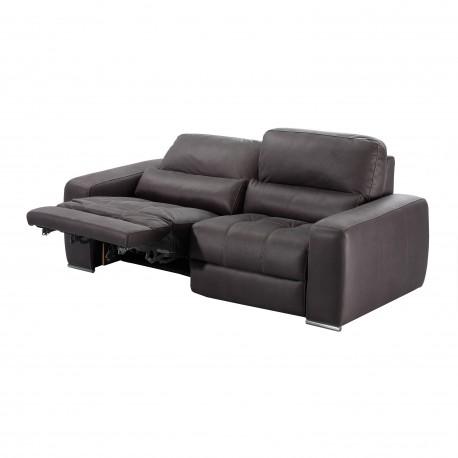 Sofá 2 plazas moderno con relax, color: negro