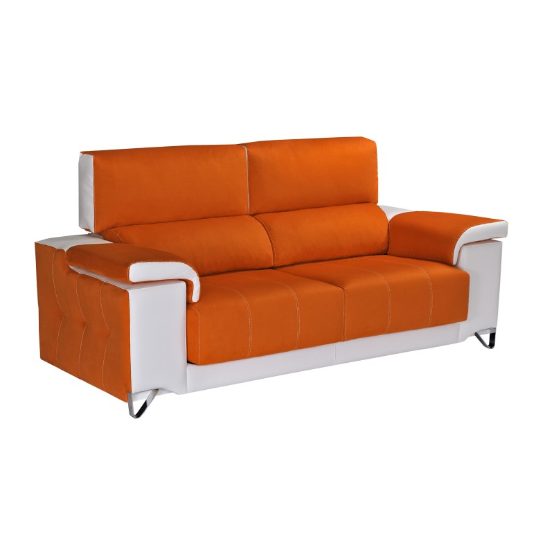 Sof 2 plazas color naranja blanco muambi for Sofa 2 plazas bony