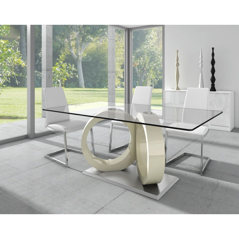 Silla de comedor minimalista tapizado ecopiel muambi for Comedores de vidrio modernos