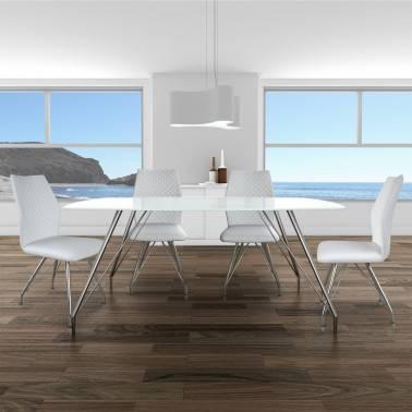 Mesa de comedor minimalista con cristal, color: cromado | Muambi