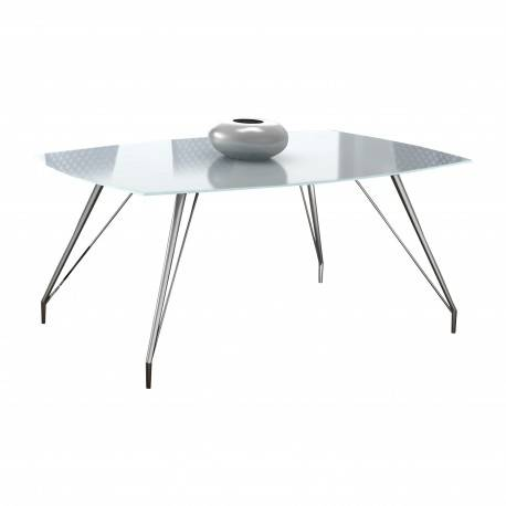 Mesa de comedor minimalista con cristal, color: cromado
