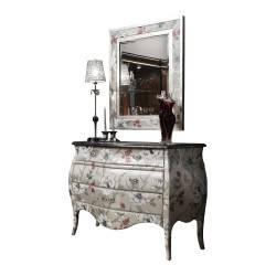 Cómoda exclusiva con marco espejo y 3 cajones, tapizado: Florence