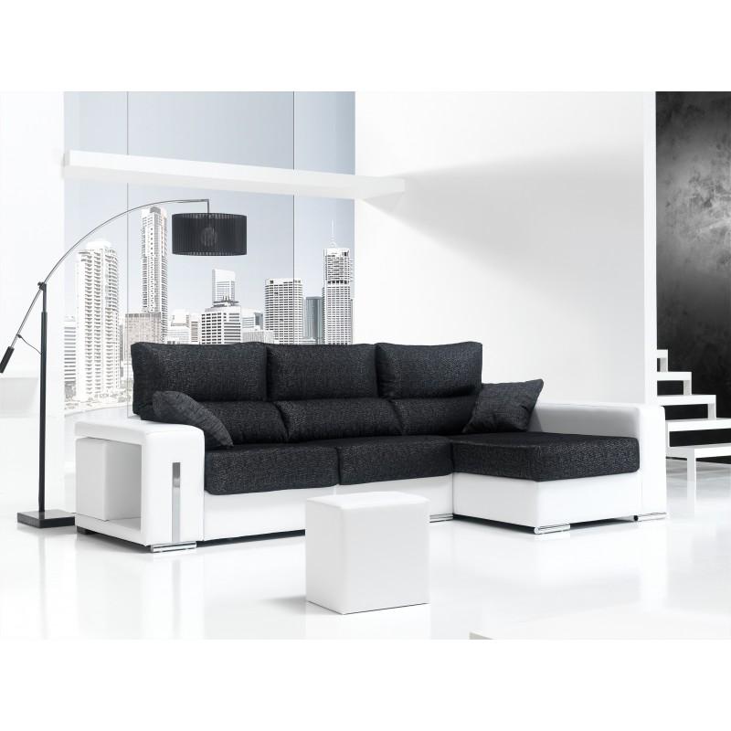 Sofa chaise longue moderno color blanco y negro muambi - Chaise longue modernos ...