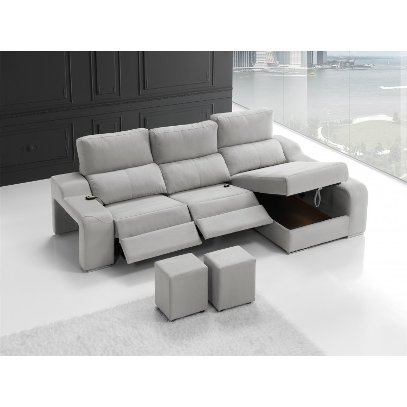sof chaise longue moderno con relax color gris muambi. Black Bedroom Furniture Sets. Home Design Ideas