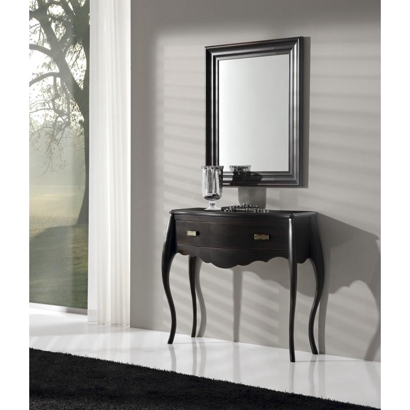 Recibidor vintage con espejo y caj n color negro roto for Espejo marco negro
