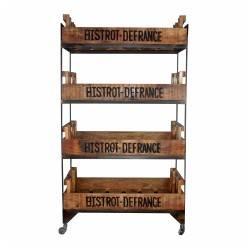 estanteria industrial vintage con ruedas 4 cajones