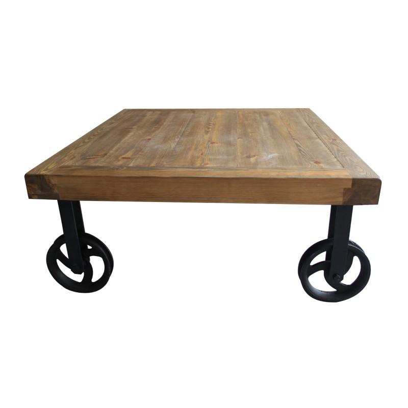 Mesa de centro cuadrada industrial acabado madera vieja - Mesa madera industrial ...