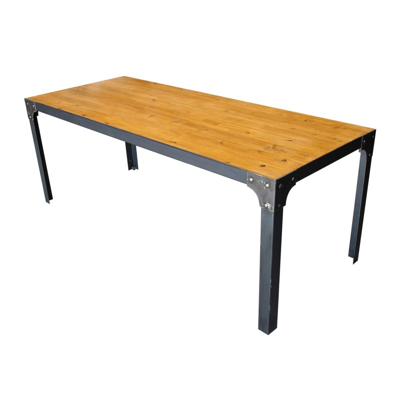 Mesa de comedor industrial acabado madera vieja muambi - Mesas de comedor a medida ...