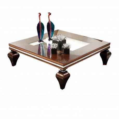 Mesa de centro exclusiva con tapa de cristal, color: nogal