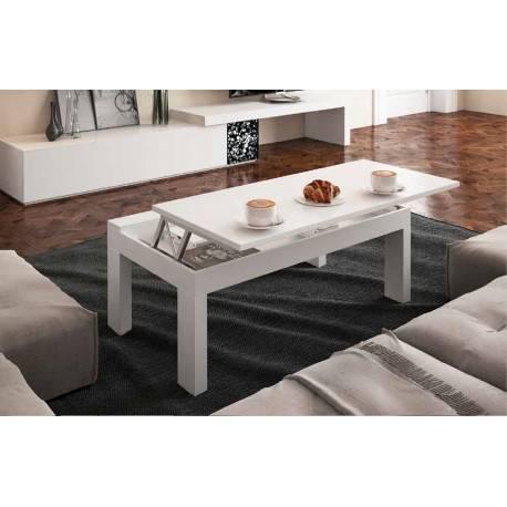 Mesa centro elevable moderna, color: blanco