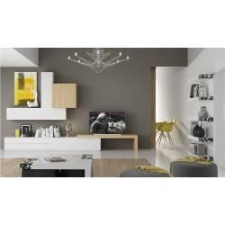 Composición de salón minimalista, color: blanco - roble