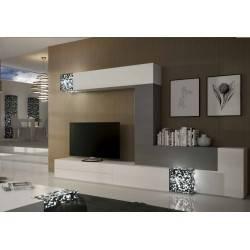 Composición de salón minimalista, color: blanco - gris