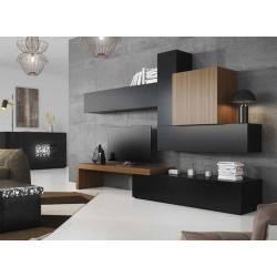Composición de salón minimalista, color: negro - nogal americano