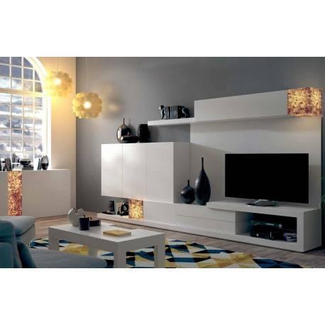 Composición de salón minimalista, color: blanco - ámbar