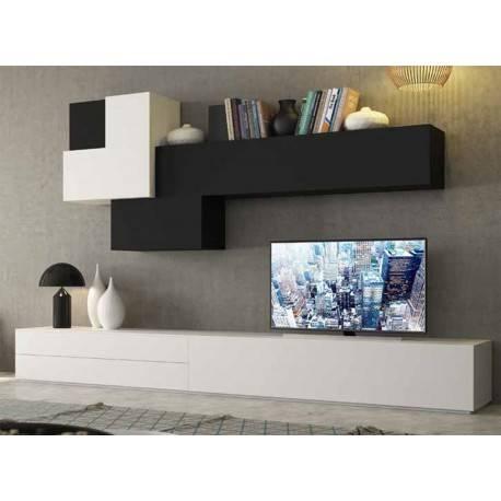 Composición de salón minimalista, color: blanco - negro